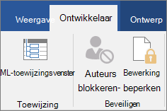 Klik op het tabblad ontwikkelaars in de groep beveiligen op bewerking beperken