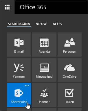 Het startprogramma voor apps met SharePoint gemarkeerd.