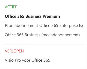 De pagina Abonnementen van het Office 365-beheercentrum, met een lijst met verschillende abonnementen die zijn gegroepeerd op status.