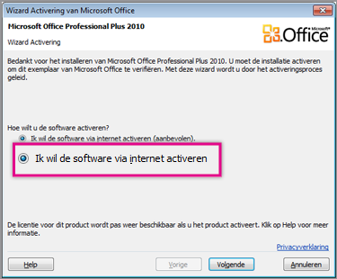 De software via internet activeren