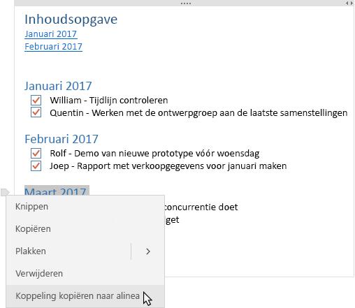 Toont opmerking met inhoudsopgave en een contextmenu met een koppeling die wordt gekopieerd.