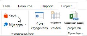 Schermafbeelding van een gedeelte van het tabblad Project op het lint met een cursor die wijst naar de Store. Selecteer opslaan om te gaan naar de Office Store en zoek invoegtoepassingen voor Project.