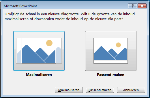 Als u wilt maximaliseren, valt een deel van de inhoud mogelijk buiten de afdrukmarges, zoals u in de afbeelding links kunt zien.