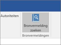 De schermafbeelding bevat een sectie van het Office-lint waarbij de opdracht Bronvermeldingen zoeken is gemarkeerd in de invoegtoepassing Bronvermeldingen.