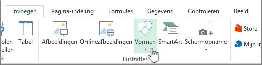 Knop Vormen invoegen in Excel