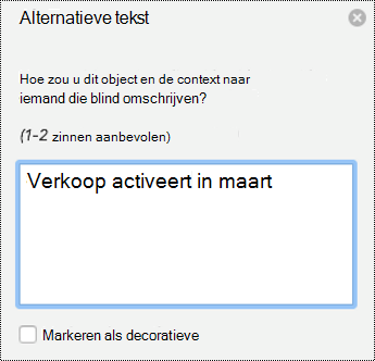 Deelvenster alternatieve tekst voor grafieken in POWERpoint voor Mac in Office 365.