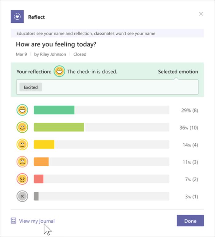 """Screenshot van de studentweergave van de gesloten check-in. Staafdiagrammen strekken zich horizontaal uit vanaf elk van de 5 emoji's en een """"geen reactie""""-indicator. De percentages stemmen voor elke emoji staan rechts. Een cursor wijst naar de koppeling onder in het artikel """"Mijn dagboek weergeven"""""""