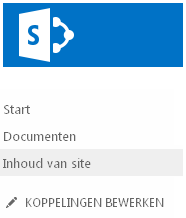Site-inhoud op de werkbalk Snel starten