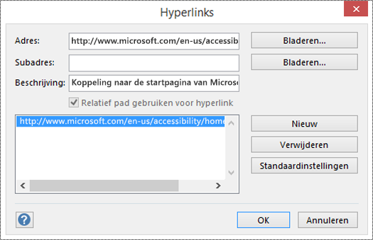 Dialoogvenster Hyperlinks om een beschrijving voor een koppeling naar Visio toe te voegen.