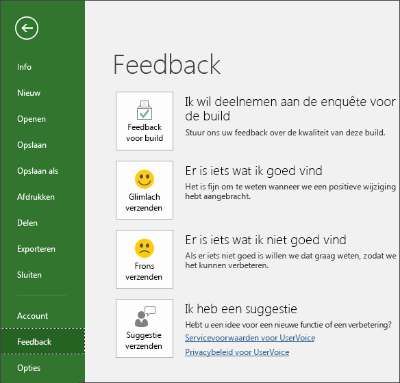 Klik op Bestand > Feedback om opmerkingen of suggesties te geven over Microsoft Project