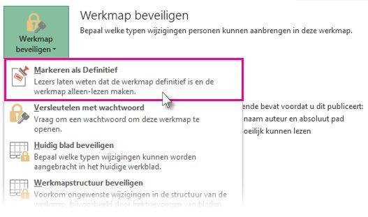 Markeren als Definitief selecteren onder Werkmap beveiligen