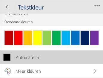 Schermafbeelding van het menu Tekstkleur met de optie Automatisch geselecteerd.