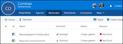 Klik op Bestanden in uw Office 365-groep om de lijst met bestanden en mappen te bekijken die zijn opgeslagen in de groep