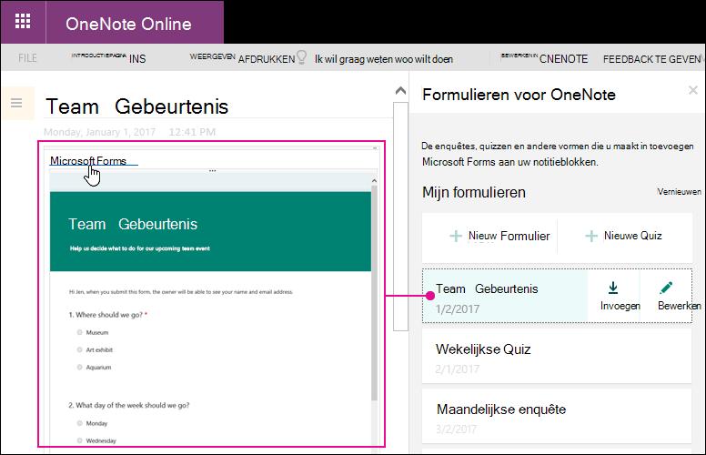 Een formulier invoegen uit de lijst met formulieren in het deelvenster Formulieren voor OneNote