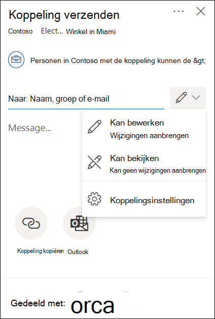 Machtigingsopties voor delen in OneDrive met opties voor bewerken of alleen lezen.