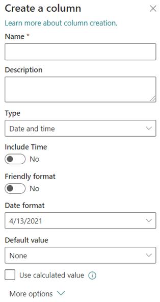 Maak een kolom 'Datum en tijd'.