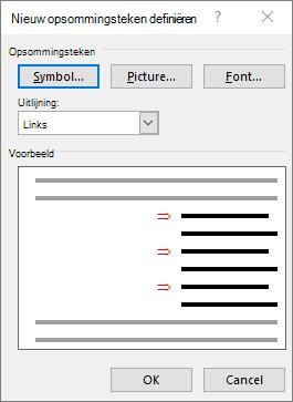 Nieuw opsommingsteken scherm met pijlen definiëren