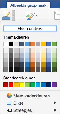 De kaderkleuren voor een afbeeldingsrand worden weergegeven.