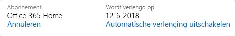 Datum waarop het abonnement automatisch wordt verlengd.