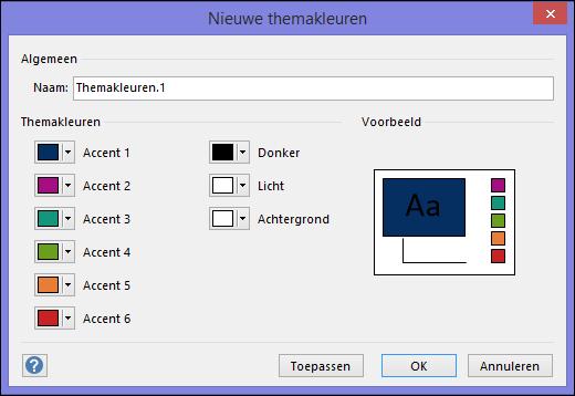 Schermafbeelding met het dialoogvenster Nieuwe themakleuren maken in Visio