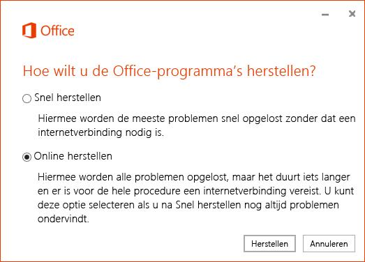Het dialoogvenster Office herstellen bij het herstellen van de OneDrive voor Bedrijven-synchronisatieapp