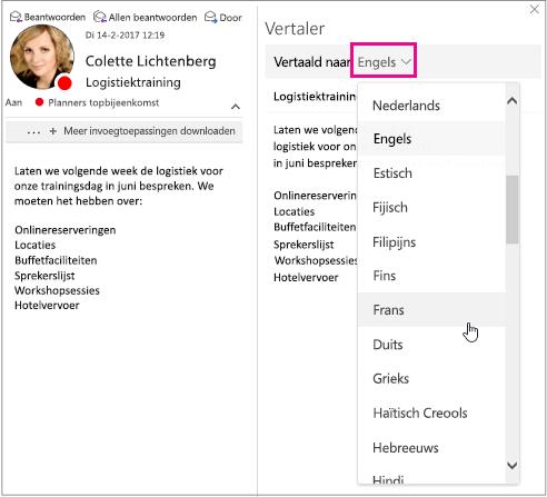 Selecteer de taal waarin u het bericht wilt vertalen