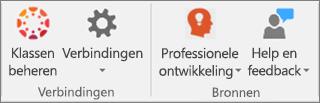 Lijst met pictogrammen, waaronder Klassen beheren, Verbindingen,