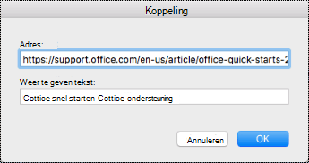 Het dialoogvenster Hyperlink in Mac.