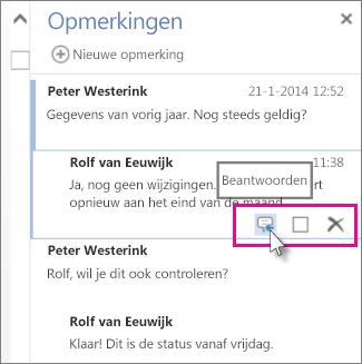 Afbeelding van de opdracht Beantwoorden onder de opmerking in het deelvenster Opmerkingen in Word Web App.