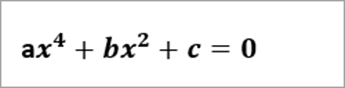 voorbeeldvergelijking leest: ax^4+bx^2+c=0