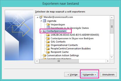 Selecteer de contactpersonen die u wilt exporteren.