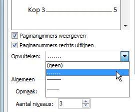 Optie voor blokpunten in het dialoogvenster Inhoudsopgave