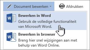 Word-document geopend vanuit SharePoint-bibliotheek met Bewerken in Word gemarkeerd