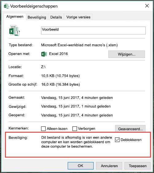 Klik in Windows Verkenner met de rechtermuisknop op het bestand om de macro's te ontgrendelen.