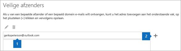 Een schermafbeelding van de pagina Veilige afzenders.