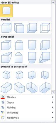 Opties voor WordArt 3D-effecten in Publisher 2010