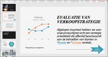Presentatie met een dia die een grafiek en tekst met twee hyperlinks bevat