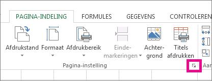 Klik op de pijl in de rechterbenedenhoek van de groep Pagina-instelling