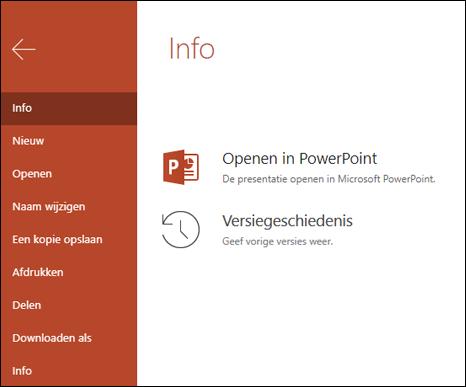Het tabblad gegevens van Office Online, met het item versiegeschiedenis.