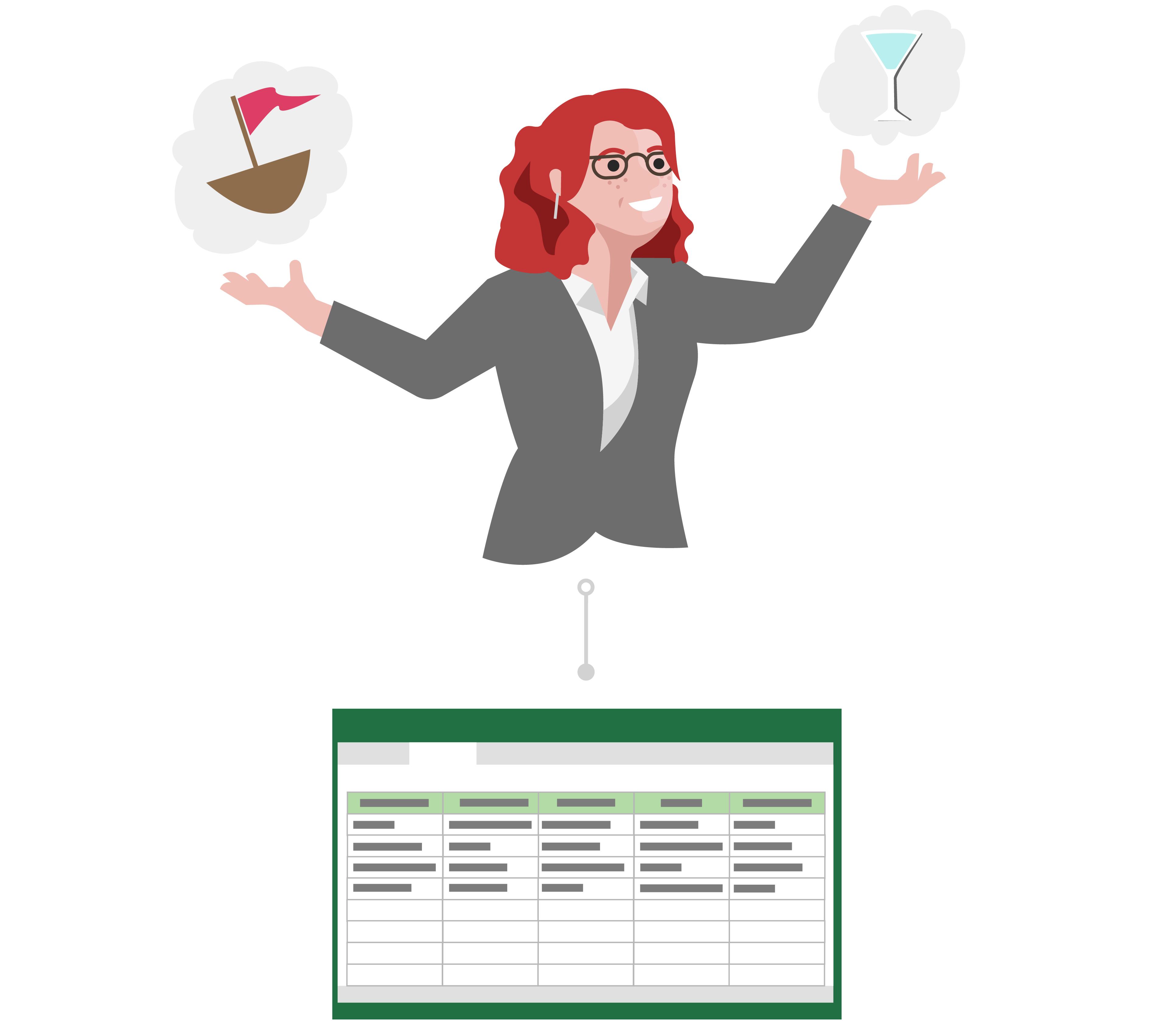 Voor de Linda is feedback over haar ideeën nodig, zodat ze een spreadsheet maakt en opslaat in de Cloud.