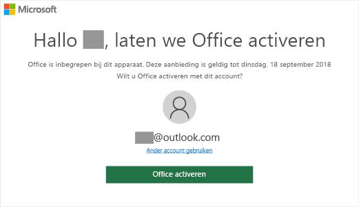 Geeft het scherm 'Laten we Office activeren' weer, wat aangeeft dat Office is inbegrepen bij deze pc