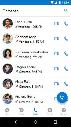Schermafbeelding van het starten van een gesprek op het tabblad gesprekken in Kaizala