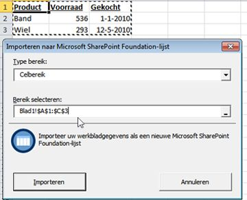 Importeren naar SharePoint-lijst