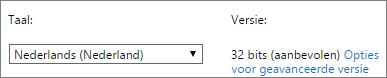 Schermafbeelding waarin wordt getoond hoe een taal en vervolgens Geavanceerd wordt geselecteerd