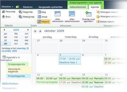 Meerdere agenda's gebruiken in SharePoint