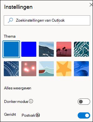 In een schermafbeelding ziet u het deelvenster Instellingen met de optie Postvak IN met focus geselecteerd om in te zetten.