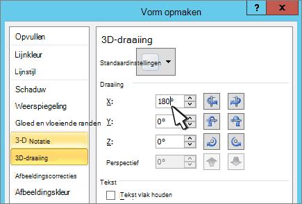 Dialoogvenster vorm opmaken met 3D X-draaiing geselecteerd