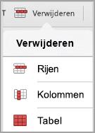 Menu Tabel verwijderen van iPad