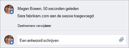Een externe gebruiker die is toegevoegd aan een bericht