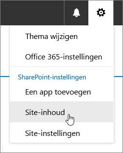 Instellingenmenu waarin Site-inhoud is gemarkeerd